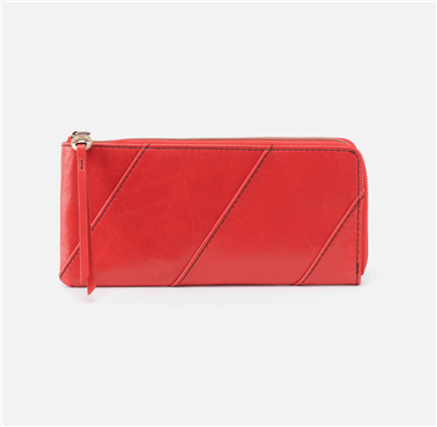 ladies zip around leather wallet in rio red