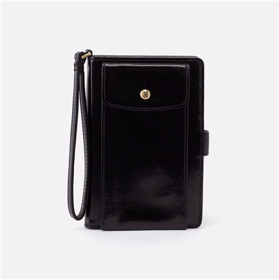 Ladies black leather wristlet from Hobo Bags.