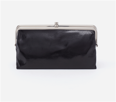 women's vintage leather clutch in black with nickel hardware and magnetic closure