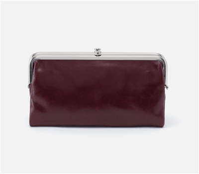 women's vintage leather clutch in deep plum with nickel hardware and magnetic closure