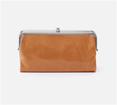 women's vintage leather clutch in honey with nickel hardware and magnetic closure