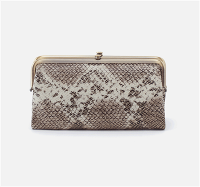 women's vintage leather clutch in platinum shimmer color with nickel hardware and magnetic closure