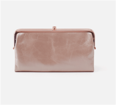 metallic rose quartz leather clutch