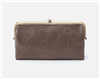 women's taupe embossed leather clutch with nickel hardware and magnetic closure