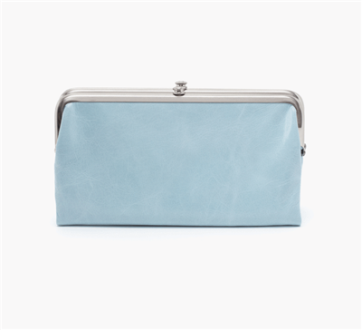 women's vintage leather clutch in whisper blue with nickel hardware and magnetic closure