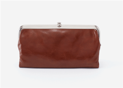 women's vintage leather clutch in woodlands color with nickel hardware and magnetic closure