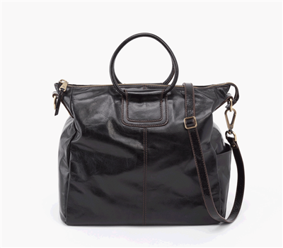 "Ladies leather ""Sheila"" handbag in black with double handle and lone removable strap"