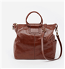 ladies leather handbag in woodlands brown with double handle and lone removable strap