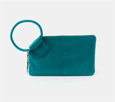 ladies leather wristlet in bluegrass with a round handle