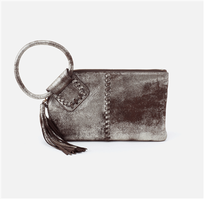 ladies metallic leather wristlet with a round handle