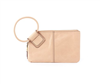 light tan leather wristlet with circular handle