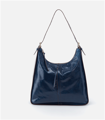 ladies leather hobo  handbag in sapphire blue red with single handle