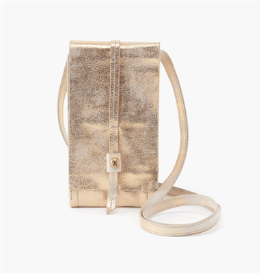 Hobo Token Cross Body in Distressed Gold