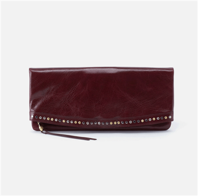 ladies snap tab closure wallet in deep plum