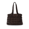 Ladies woven leather handbag in dark umber.