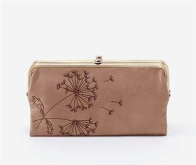 women's vintage matte leather clutch in cobblestone color with brown flower embroidery and brushed brass hardware and magnetic closure