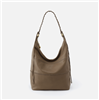 ladies leather shoulder handbag in greystone with single strap