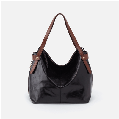 ladies leather handbag in black with double handle