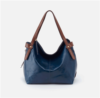 ladies leather handbag in sapphire with double handle