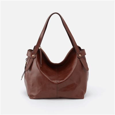 ladies leather handbag in woodlands brown with double handle