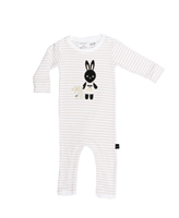 white long sleeve pant romper with pale pink stripes  with a bunny on the front holding a bear