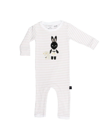 e4a8111283c4 Huxbaby Stripe Bunny Long Romper - minimalist baby clothes - organic ...