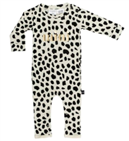 leopard print long sleeve baby romper that says mini in gold foil on the front
