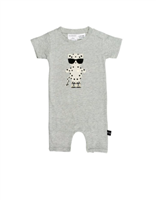 grey cotton short sleeve baby short romper with a leopard wearing sunglasses on the front