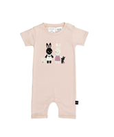 tea rose pink short sleeve baby short romper with bunnies holding hands on the front