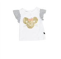 white baby t-shirt with a stripe ruffle sleeve  with a mouse on the front