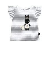 black and white stripe baby t-shirt with a short ruffle sleeve  with a bunny on the front