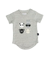 organic grey cotton short sleeve baby tee with four animal faces on the front