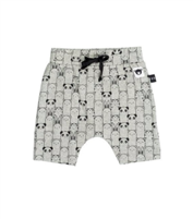 grey cotton drop crotch baby shorts with animals all over them
