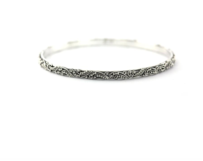 Indiri Collection Sterling Silver Filigree & Granulation Bangle Bracelet