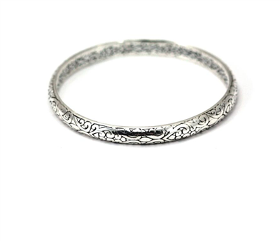 Indiri Collection Sterling Silver Filigree Carved Bangle Bracelet