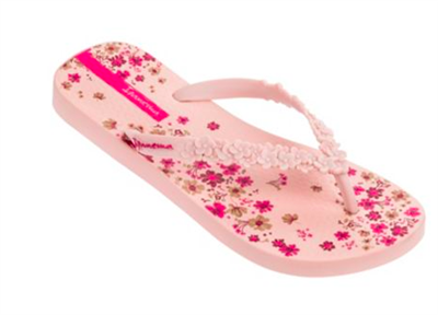 Navy rubber flip flop with pink sculpted flowers