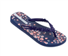 women's Ipanema navy blue rubber flip flop with navy sculpted flowers