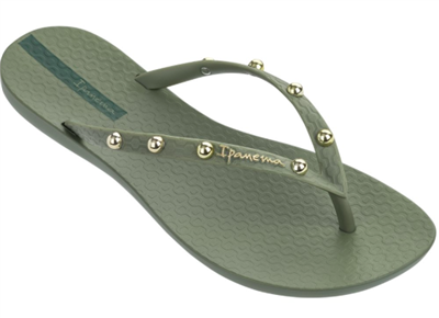ladies Ipanema green flip flops with gold studs