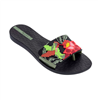 women's black slip on slide with toe separator and floral print