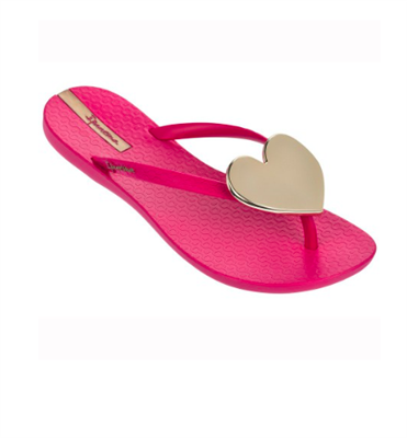 Ladies Ipanema Wave Heart Flip Flops Pink with Gold Heart