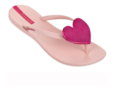 women's Ipanema Wave Heart Flip Flops Pink with Pink Heart