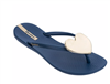 women's navy plastic flip flops with a gold heart medallion