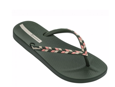 women's Ipanema green rubber flip flops with multi color straps