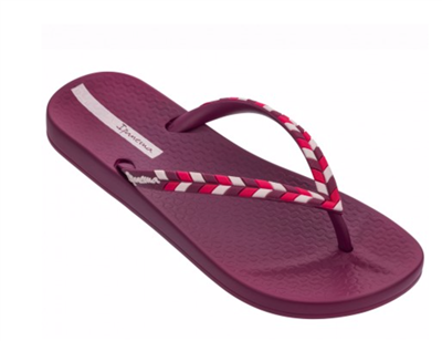 women's Ipanema pink rubber flip flops with multi color straps