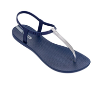 navy thong sandal with silver hardware