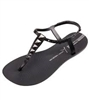 Black thong sandal with metal hardware
