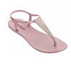 red thong sandal with pink hardware