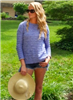 Blue long sleeve cotton sweater