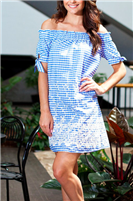 blue and white gingham off the shoulder dress with white embroidery