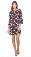 navy polyester dress with double ruffle 3/4 sleeve with pink flowers